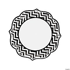 Black Chevron Scalloped Edge Dinner Plates