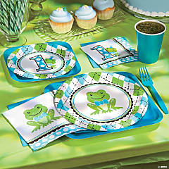Preppy Frog Blue 1st Birthday Party Supplies