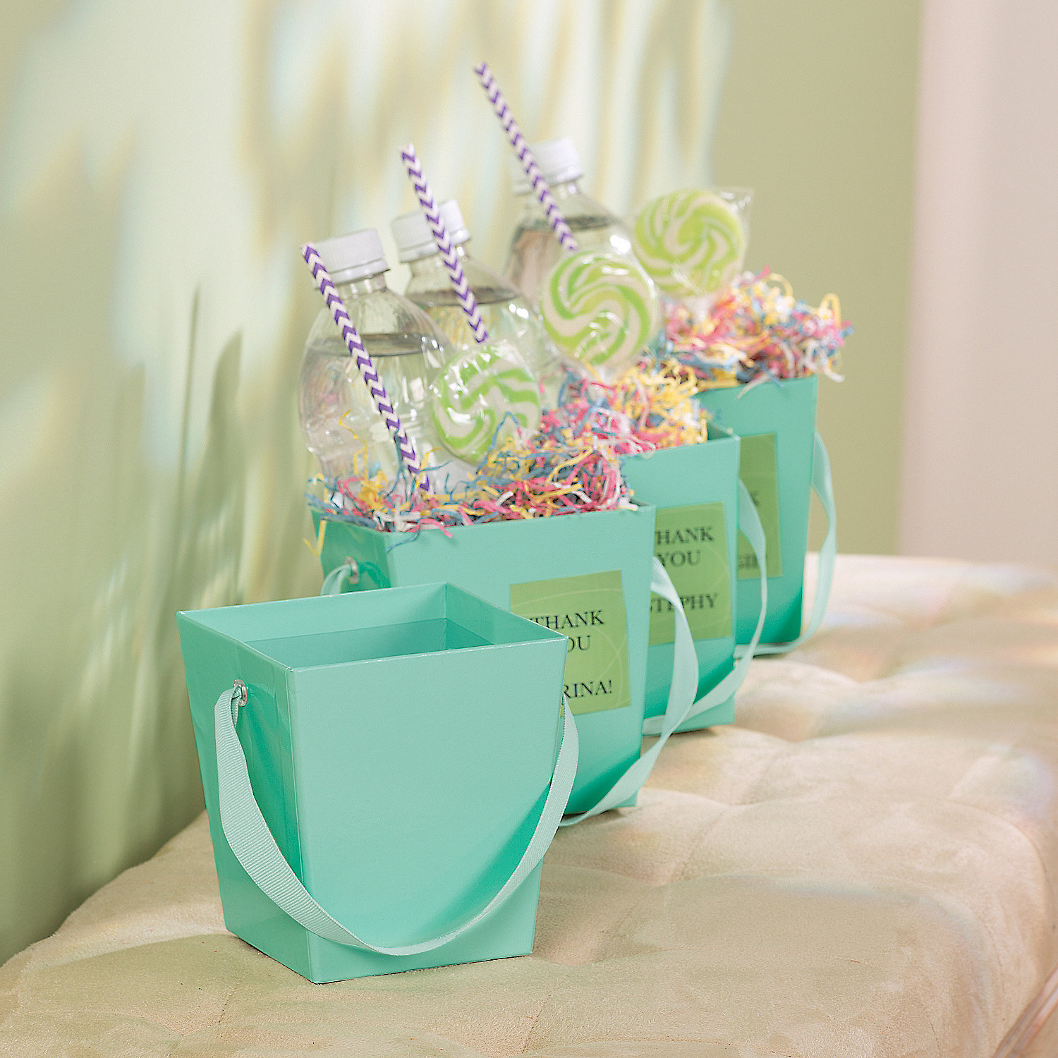 Mint green buckets with ribbon handle pails baskets