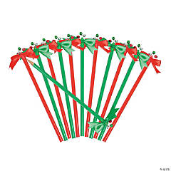 Wood Jingle Bell Pencils with Bow Topper