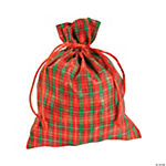 Christmas Plaid Organza Drawstring Bags