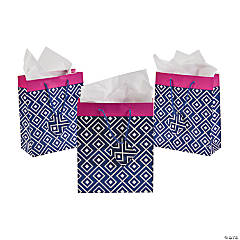 Medium Navy & Hot Pink Gift Bags