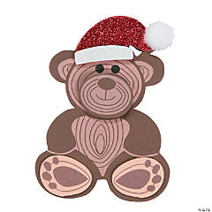 Woodgrain Bear in Santa Hat Magnet Craft Kit