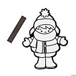Color Your Own Bundled Up Kid Fuzzy Christmas Magnets