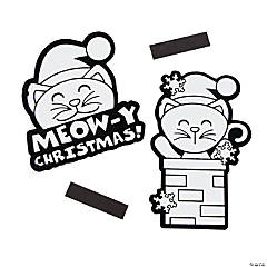 Color Your Own Santa Cat Fuzzy Christmas Magnets