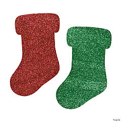 Jumbo Glitter Christmas Stocking Shapes