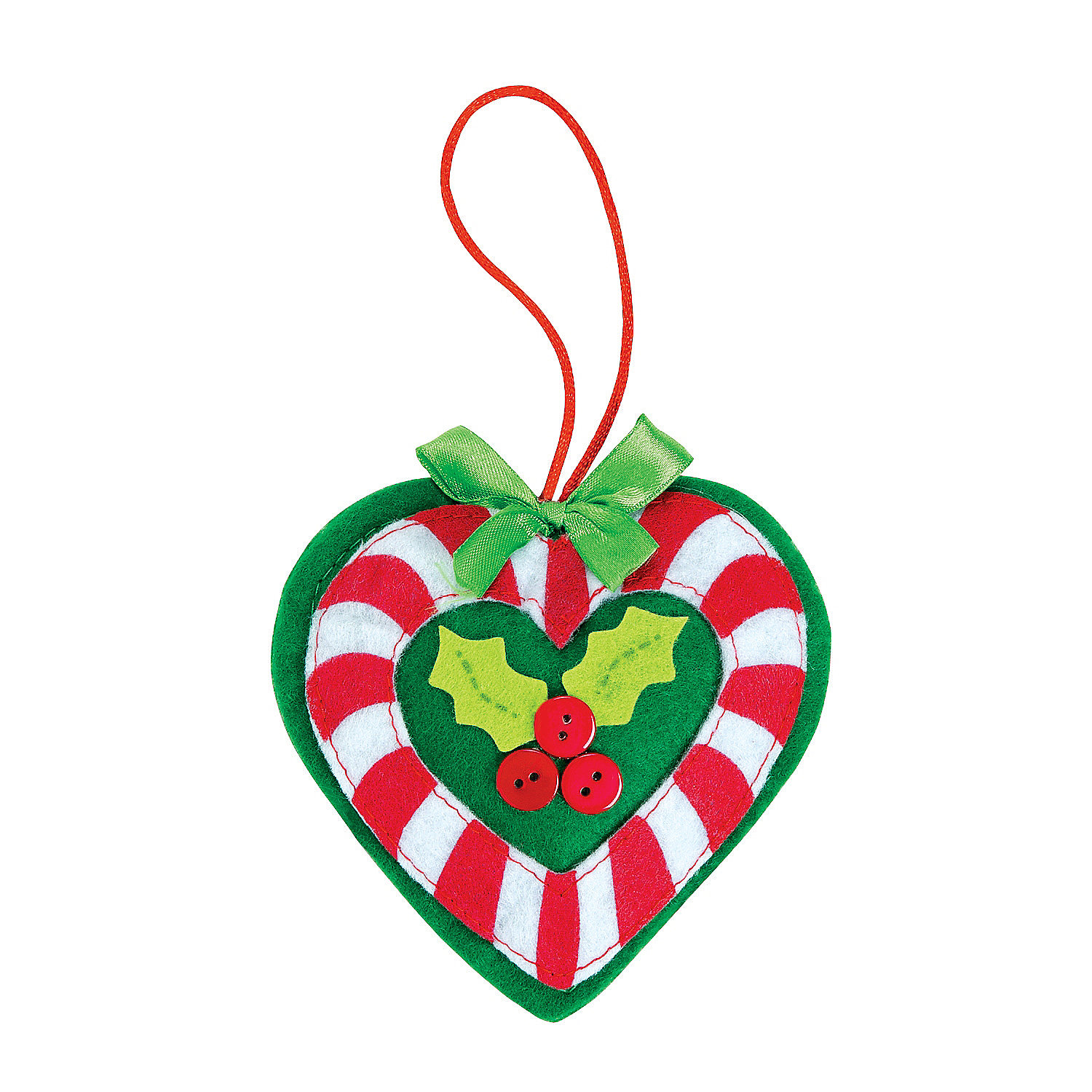 Candy cane heart ornament craft kit ornament crafts for Candy cane crafts for adults