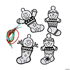 Color Your Own Fuzzy Christmas Stocking Ornaments