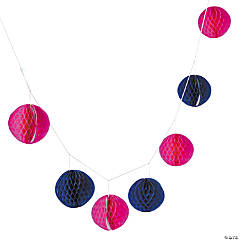 Pink & Navy Honeycomb Tissue Garland