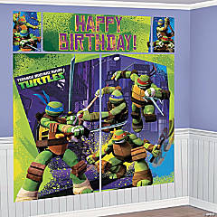 Plastic Teenage Mutant Ninja Turtles Happy Birthday Scene Setter