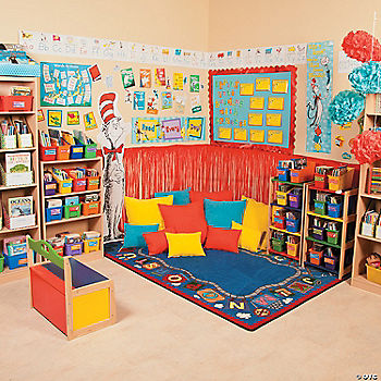 Dr seuss reading corner for Space themed book corner