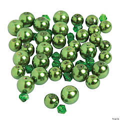 Green Pearl & Crystal Bicone Beads