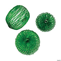 Green Donut Beads with Netting - 10mm x 13mm - 16mm