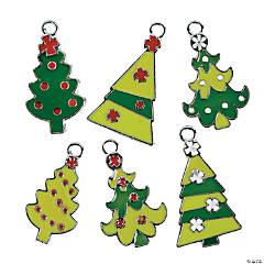 Fun Christmas Tree Enamel Charms - 24mm - 38mm