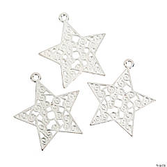 Silvertone Swirl Star Pendants - 44mm