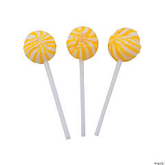Yellow Swirl Ball Lollipops
