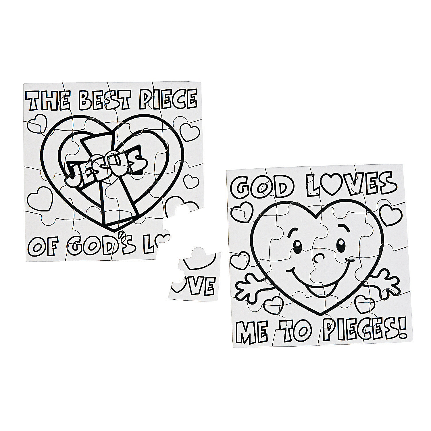Color Your Own Piece of God's Love Puzzles, Coloring