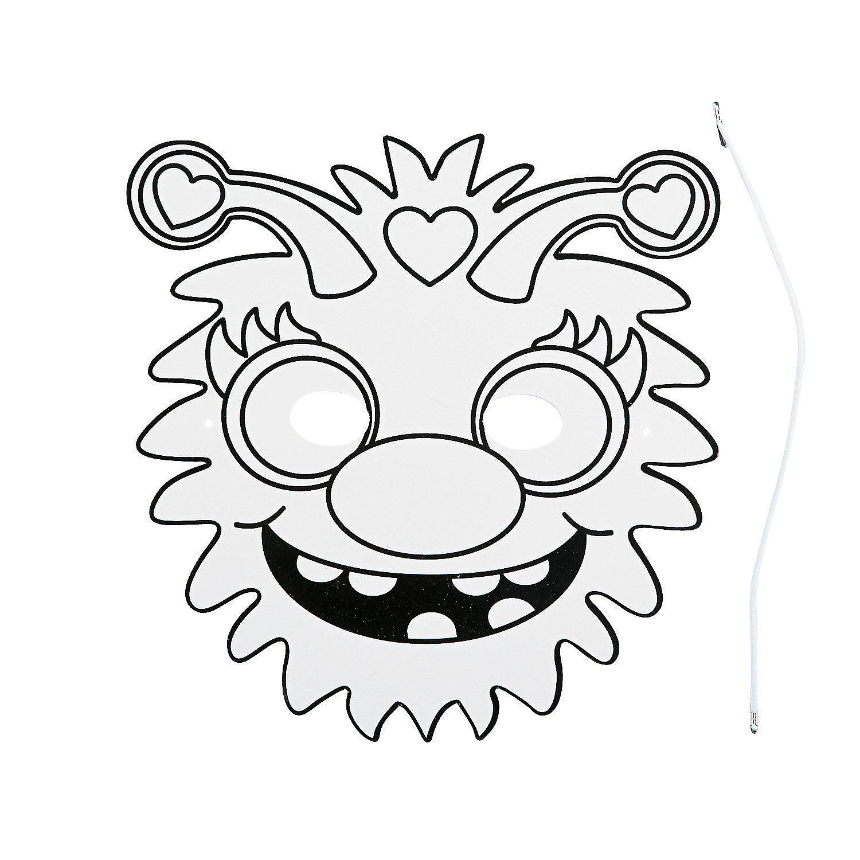Color Your Own Monster Masks, Coloring Crafts, Crafts for