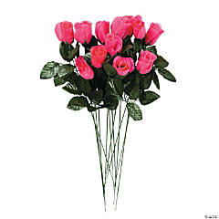 Artificial Hot Pink Rosebuds