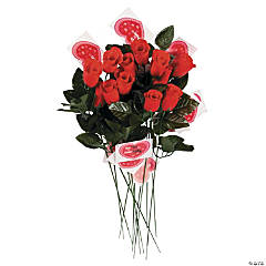 Artificial Red Rosebuds with Card