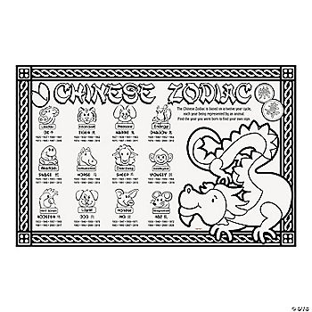 oriental trading coloring pages - color your own chinese new year place mats oriental