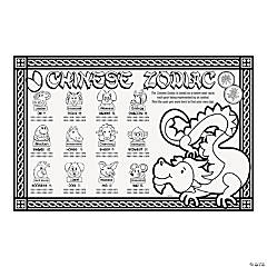 Paper Color Your Own Chinese New Year Place Mats