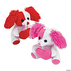 Plush Valentine Dogs with Heart