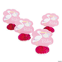 Baby Girl Stork Honeycomb Decorations