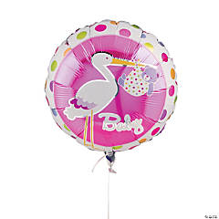 Baby Girl Stork Mylar Balloon