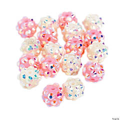 Pink & White Sparkle Beads - 8mm