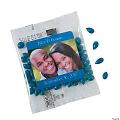 Blue Wedding Custom Photo Candy-Coated Sunflower Seed Packs