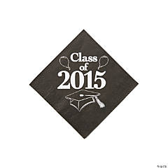 Class of 2015 Black Beverage Napkins
