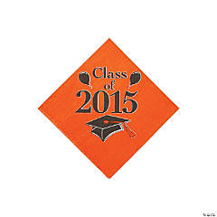 Class of 2015 Orange Beverage Napkins