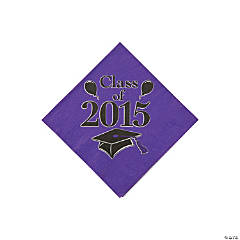 Class of 2015 Purple Beverage Napkins