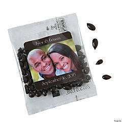 Brown Wedding Custom Photo Candy-Coated Sunflower Seed Packs
