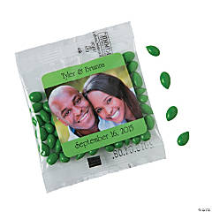Green Wedding Custom Photo Candy-Coated Sunflower Seed Packs