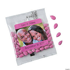 Hot Pink Wedding Custom Photo Candy-Coated Sunflower Seed Packs