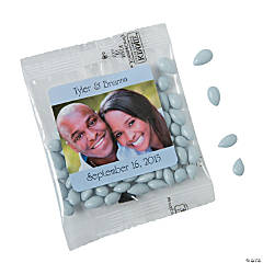 Light Blue Wedding Custom Photo Candy-Coated Sunflower Seed Packs