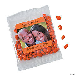 Orange Wedding Custom Photo Candy-Coated Sunflower Seed Packs