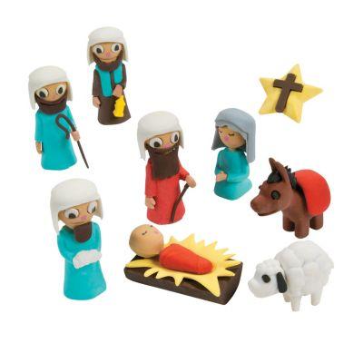 Religious Christmas nativity story novelty eraser set