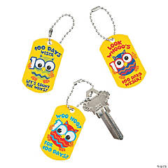 100th Day of School Owl Dog Tag Key Chains