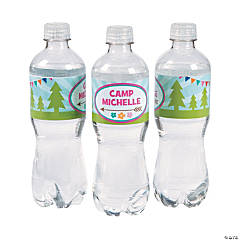 Paper Personalized Camp Glam Water Bottle Labels