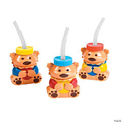 1st Birthday Bear Molded Cups with Straws & Lids