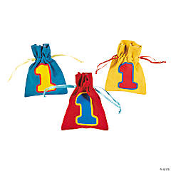 1st Birthday Bear Drawstring Bags
