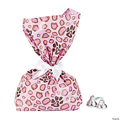 1st Birthday Pink Cheetah Print Cellophane Bags