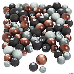 Rubber-Coated Black/Brown/Gray Round Beads