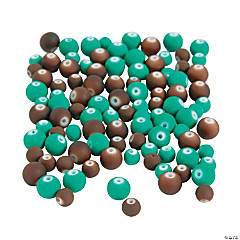 Teal & Brown Rubber-Coated Beads - 6mm - 8mm