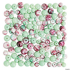 Pink/Green Swirl Beads - 6-8mm