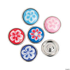 Small Fimo Snap Beads Flower Design - 12mm