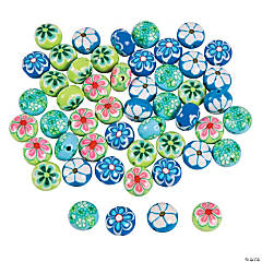Blue & Green Flower Polymer Beads - 12mm